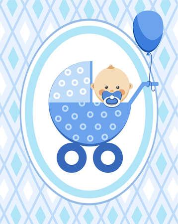 Newborn baby, boy, card, blue rhombus, vector. A little boy in a blue stroller, blue ball is tied to the stroller, color, flat card. Congratulation, blue diamonds on a blue field.