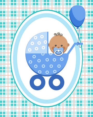 Baby, boy, Africa, greeting card, blue checkered background, vector. A little boy in a blue stroller. A blue ball is tied to the stroller. Color, flat card. Congratulation. Blue squares on the white field. Illustration