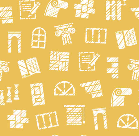Decoration materials, construction, seamless pattern, pencil hatching, yellow, vector. Finishing of premises and buildings. Ilustração