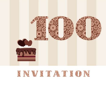 Invitation 100 Years Old Chocolate Cake Heart Vector The