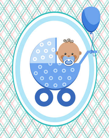Baby, boy, Africa, postcard, blue lines, rhombuses, vector. A little boy in a blue stroller. A blue ball is tied to the stroller. Color, flat card. Congratulation. Blue thin lines intersect on a white field.