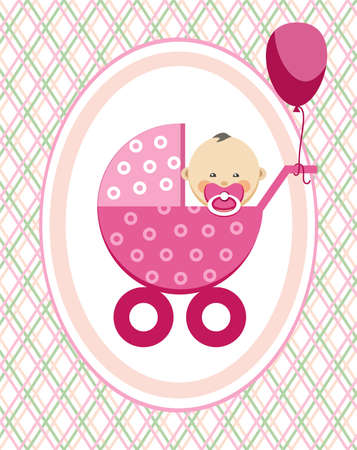 Baby, girl, Asia, postcard, pink lines, rhombuses, vector. A little girl in a pink stroller. A pink balloon is tied to the stroller. Color, flat card. Congratulation. Pink fine lines on a white field. Vectores