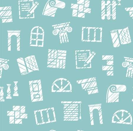 Finishing materials, construction, seamless pattern, pencil hatching, blue, vector. Finishing of premises and buildings. Plain, flat background. Hatching with a white pencil on a blue field. Imitation.