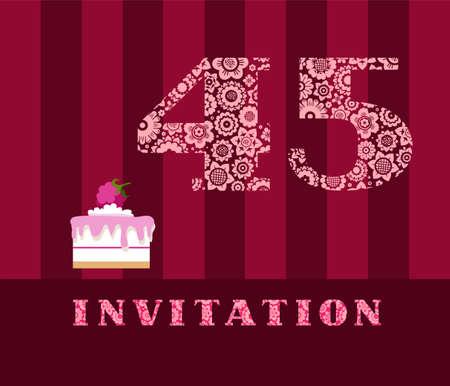 45th Birthday invitation card design