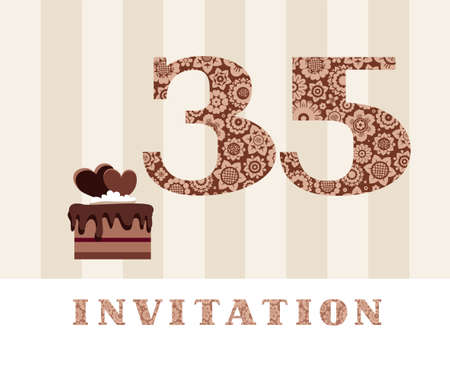 The invitation, 35 years old, chocolate cake, heart-shaped, vector. The invitation to the birthday party. Color card. Chocolate cake with hearts. English.