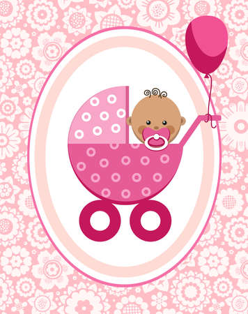 Little girl, Africa, postcard, floral background, vector. A little girl in a pink stroller. A pink balloon is tied to the stroller. Color, flat card. Congratulation. Pink flowers on a pink field. Illustration