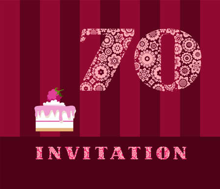 Invitation, 70 years old, raspberry pie card.