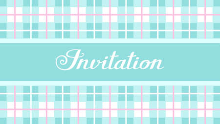 Invitation, checkered pattern, light blue, vector, English. Invitation to the event. White inscription on a mint field. Mint squares and pink stripes.