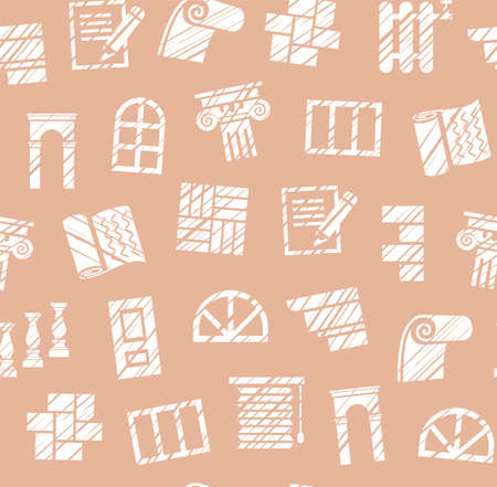 Finishing materials, construction, seamless pattern, pencil hatching, rose brown, vector. Finishing of premises and buildings. Plain, flat background. Hatching with a white pencil on a pink field. Imitation. Ilustração