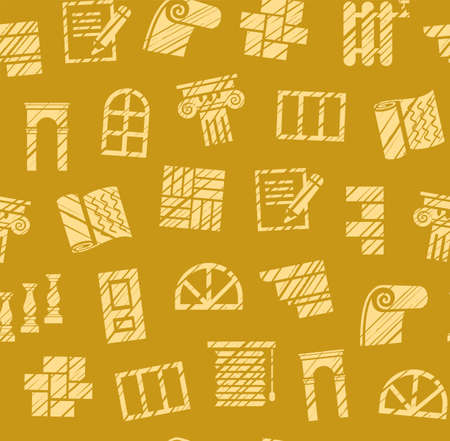 Finishing materials, construction, seamless pattern, pencil hatching, mustard, colored, vector. Finishing of premises and buildings. Color, flat background. Shading with a pencil on a yellow mustard field. Imitation.  イラスト・ベクター素材