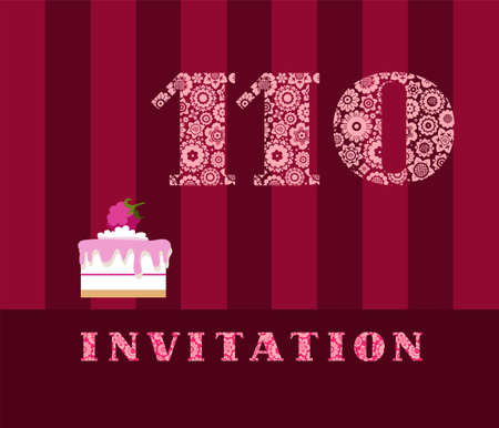 The invitation, 110 years, cake with raspberries, vector, English. The invitation to the birthday party. Wedding anniversary. Color card. Berry cake with raspberries on a striped, dark red field.  イラスト・ベクター素材
