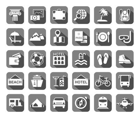 Travel, vacation, tourism, leisure, monochrome icons. Different types of recreation and ways to travel. White pictures on a gray background with shadow.  イラスト・ベクター素材