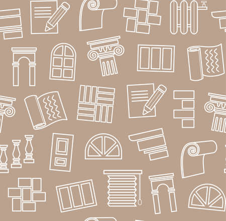 Decoration materials, construction, seamless pattern. Finishing of premises and buildings. Plain, flat background. Linear white pattern on a brown field.  イラスト・ベクター素材
