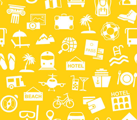 Travel, vacation seamless pattern. Different types of recreation and ways to travel. White pictures on yellow background.