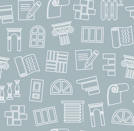 Decoration materials, construction, seamless pattern, outline drawing, blue, vector. Finishing of premises and buildings. Plain, flat background. Linear white pattern on a gray-blue field.