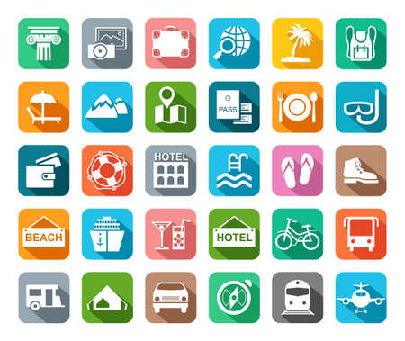Travel, vacation, tourism, leisure, icons, flat, colored, vector. Different types of recreation and ways to travel. White pictures on a colored background with shadow. Vector.