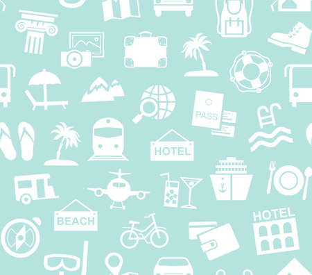 Travel, vacation, tourism, recreation, seamless pattern, monochrome, blue, vector. Different types of recreation and ways to travel. White pictures on a light blue field. Vector, monochrome background