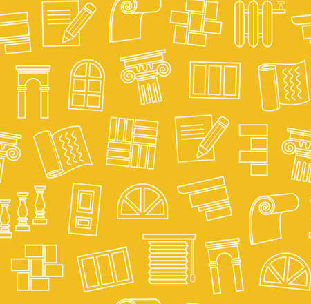 Finishing materials, construction, seamless pattern, outline drawing, yellow, color, vector. Finishing of premises and buildings. Color, flat background. Linear yellow pattern on the yellow field.  イラスト・ベクター素材