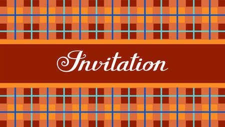 Invitation, checkered pattern, orange-brown, vector, English. Invitation to the event. White inscription on a checkered background. Orange and brown squares, blue thin lines.