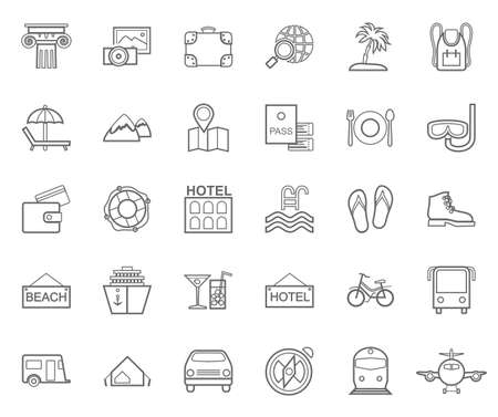 Travel, vacation, tourism, leisure, monochrome icons, flat, outline, vector. Different types of recreation and ways to travel. Gray line drawings on white background. Vector.  イラスト・ベクター素材
