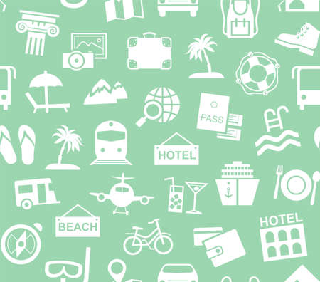 Travel, vacation, tourism, recreation, seamless pattern, monochrome, green, vector. Different types of recreation and ways to travel. White pictures on a green field. Vector, monochrome background.  イラスト・ベクター素材