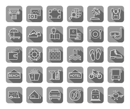 Travel, vacation, tourism, recreation, icons, flat, outline, vector. Different types of recreation and ways to travel. White line drawings on a gray background with shadow. Vector. Vettoriali