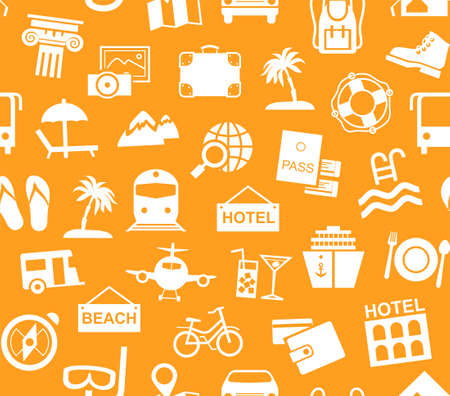Travel, vacation, tourism, recreation, seamless pattern, monochrome, orange, vector. Different types of recreation and ways to travel. White pictures on an orange field. Vector, monochrome background.