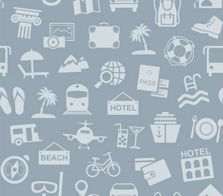 Travel, vacation, tourism, vacation, seamless pattern, gray blue, color, vector. Different types of recreation and ways to travel. Gray pictures on a gray field. Vector, color background.