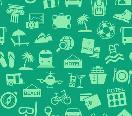 Travel, vacation, tourism, vacation, seamless pattern, green, color, vector. Different types of holidays and ways of traveling. Green pictures on a green field. Vector, color background.  イラスト・ベクター素材