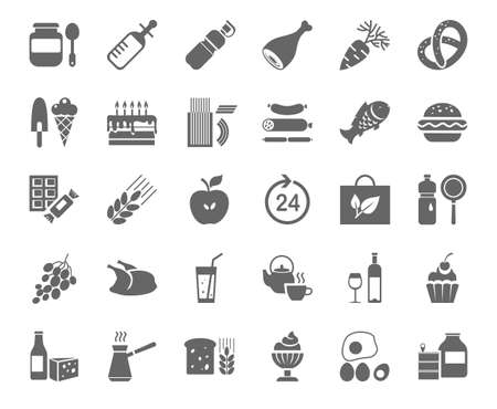 Food, monochrome icons, vector. Food and drinks, production and sale. Gray drawings on the white field. Vector clip art.