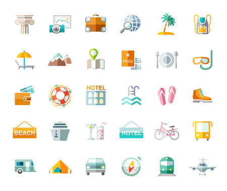 Travel, vacation, tourism, vacation, icons, flat, colored, vector. Different types of holidays and ways of traveling. Colored, flat pictures on a white background. Vector.
