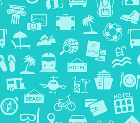 Travel, vacation, tourism, vacation, seamless pattern, blue, color, vector. Different types of holidays and ways of traveling. Blue pictures on a turquoise field. Vector, color background.