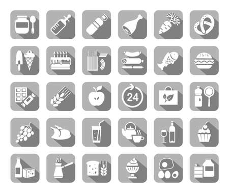 Food, gray, flat icons, vector. Grocery store. Food and drinks, production and sale. White drawings on a gray field with a shadow. Vector clip art.