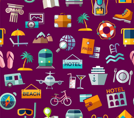 Travel, vacation, tourism, leisure, seamless pattern, colorful, purple. Different types of holidays and ways of traveling. Vector, color background. Colored flat drawings on a purple field.