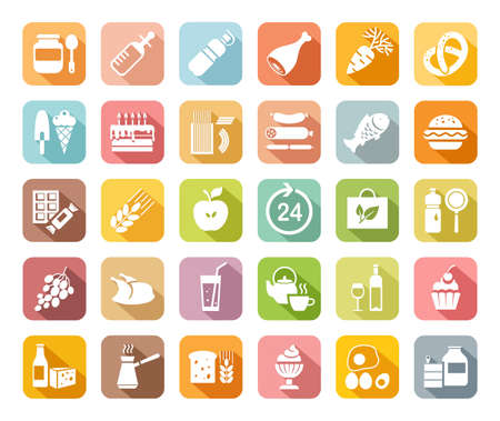 Food, colored, flat icons, vector. Grocery store. Food and drinks, production and sale. White drawings on a colored field with a shadow. Vector clip art.