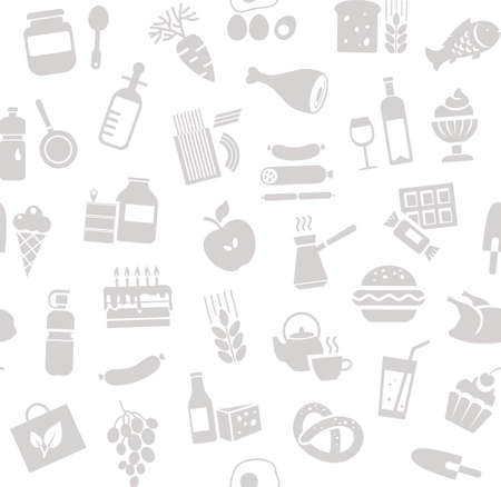 Food, seamless pattern, white, monochrome, grocery, vector. Food and drinks, production and sale. Vector background. Gray drawings on the white field.  イラスト・ベクター素材