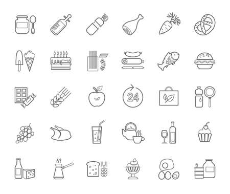 Food, contour icons, vector. Grocery store. Food and drinks, production and sale. Gray line drawings on a white field. Vector clip art.