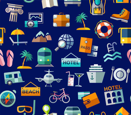 Travel, vacation, Hiking, leisure, seamless pattern, colorful, blue. Different types of holidays and ways of traveling. Vector, color background. Colored flat drawings on the blue field.