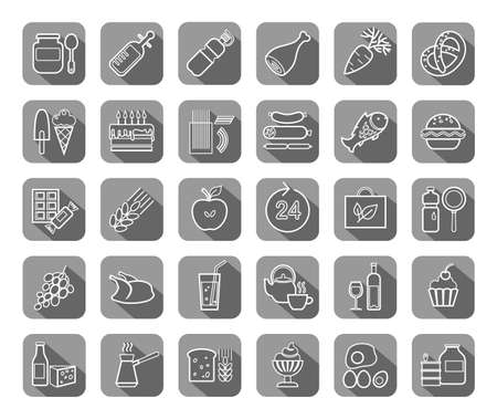 Food, gray, contour icons, vector. Food and drinks, production and sale. White line drawings on a gray field with a shadow. Vector clip art.