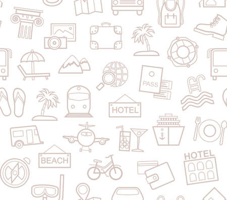 Travel, vacation, tourism, recreation, seamless pattern, outline, white, vector. Different types of holidays and ways of traveling. Gray line drawings on a white field. Vector, monochrome background.