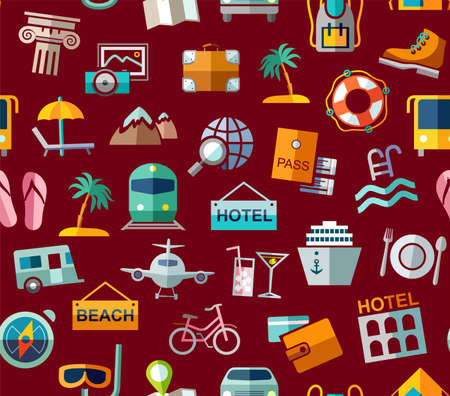 Travel, vacation, tourism, leisure, seamless pattern, colorful, dark red. Different types of holidays and ways of traveling. Vector, color background. Colored flat drawings on a dark red field.  イラスト・ベクター素材