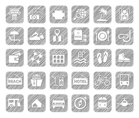 Travel, vacation, tourism, vacation, icons, pencil shading, white, vector. Different types of holidays and ways of traveling. White icons on a gray shaded field. Simulation of shading. Vector clip art  イラスト・ベクター素材