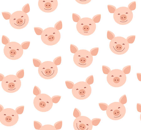 Funny piglets, seamless pattern, white, vector. Face pink pigs on a white background. Vector flat pattern.