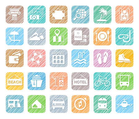 Travel, vacation, tourism, vacation, icons, pencil shading, colored, vector. Different types of holidays and ways of traveling. White icons on a colored shaded field. Simulation of shading. Vector cli  イラスト・ベクター素材