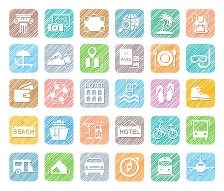 Reizen, vakantie, toerisme, vakantie, pictogrammen, potloodschaduw, gekleurd, vector. Verschillende soorten vakanties en manieren van reizen. Witte pictogrammen op een gekleurd gearceerd veld. Simulatie van arcering. Vector illustraties.