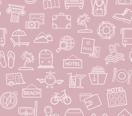 Travel, holidays, tourism, recreation, seamless pattern, contour, purple-pink, colorful, vector. Different types of holidays and ways of traveling. Vector, color background. Pink line drawings on a pu