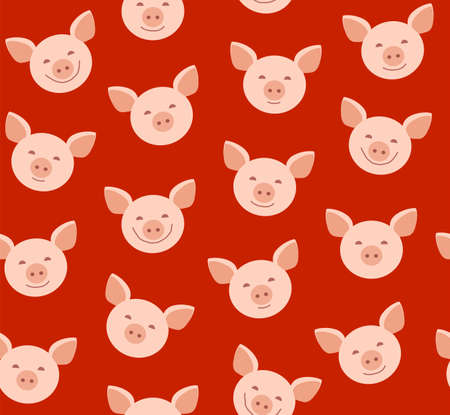 Funny piglets, seamless pattern, red, vector. Pink Piglet faces on red background. Vector flat pattern. Pigs are laughing, different emotions.  イラスト・ベクター素材
