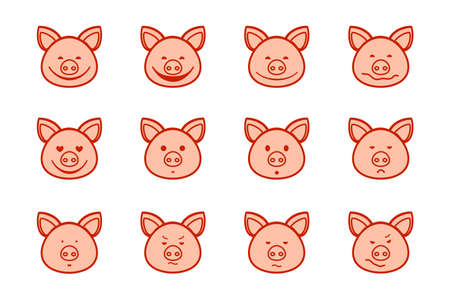 Pig, icon, different emotions, pink, vector. Pig head with different emotions, meme, icon. Color, vector pictures. Pink drawings with a red-brown outline.