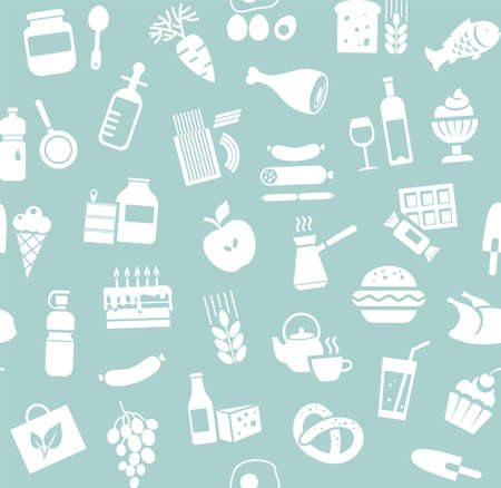 Food, seamless pattern, blue, monochrome, grocery, vector. Food and drinks, production and sale. Vector background. White icons on the blue field.  イラスト・ベクター素材
