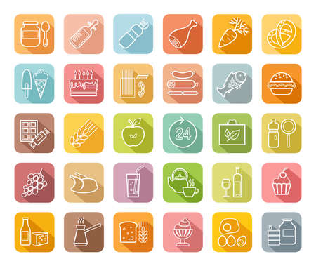 Food, contour icons, colored, grocery store, vector. Food and drinks, production and sale. White line drawings on a colored field with a shadow. Vector clip art.  イラスト・ベクター素材